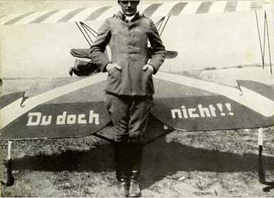 Udet standing in front of his Du Doch Nicht inscription